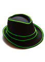 Green EL Wire Light Up Fedora Hat