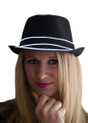 White EL Wire Light Up Fedora Hat