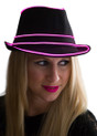 Pink EL Wire Light Up Fedora Hat