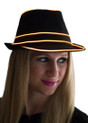 Orange EL Wire Light Up Fedora Hat