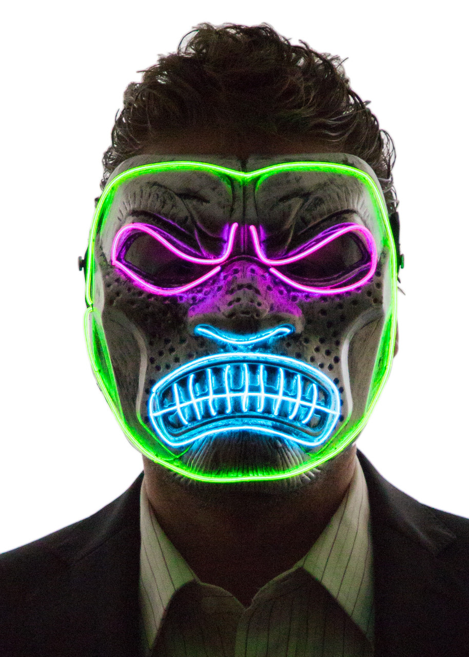 glowing angry gorilla mask neon nightlife