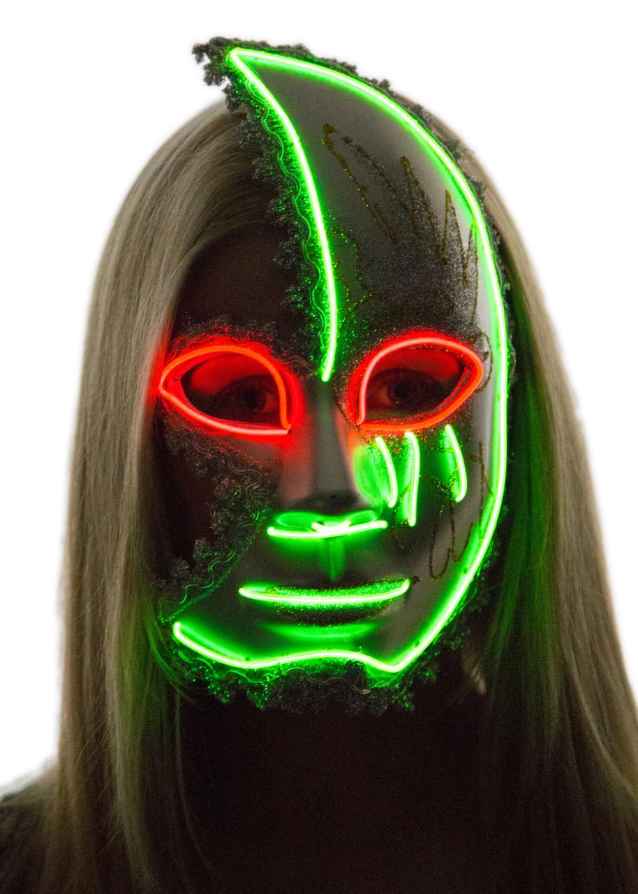 Glowing Half Moon Venetian Face Mask - Neon Nightlife