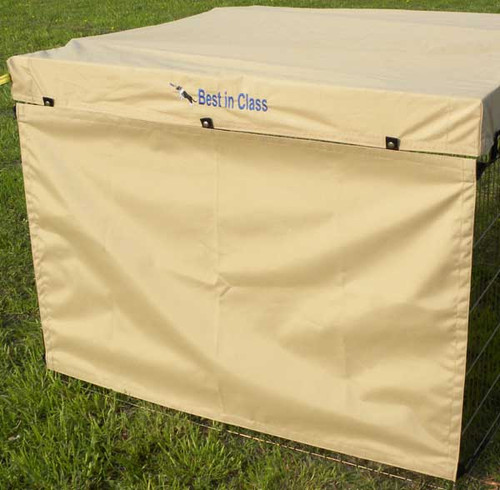 X-Pen side screen made of marine-grade, coated 100% polyester protects your dog from sun, wind, weather and distractions.