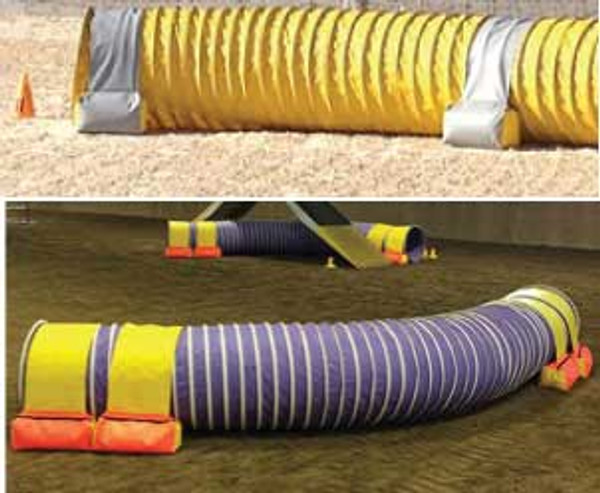 """Top: Gray and yellow tunnel bags at the BC/Yukon 2014 Regionals. Bottom: """"These are simply the best tunnel holders we've ever used."""" Agility Ability, Sparks, NV"""