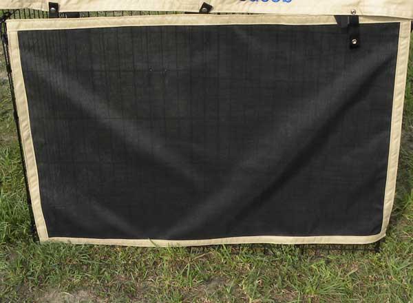 Exterior awning grade solar mesh x-pen side.