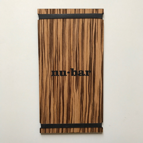 Zebrawood Menu Board with Bands 5.5 x 11