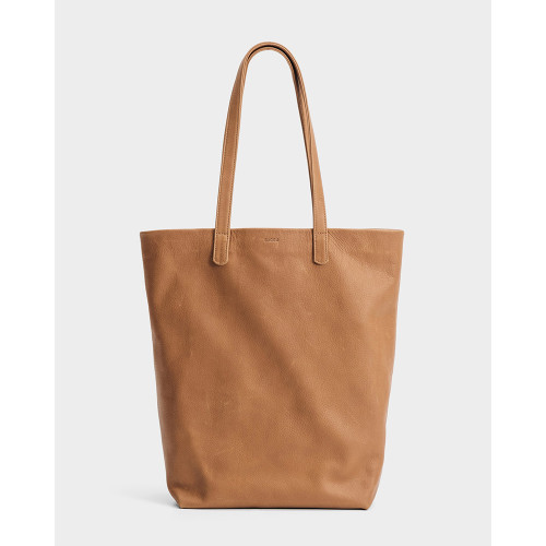 Basic Leather Tote, Saddle
