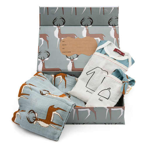 Organic Newborn Keepsake Gift Set, Blue Buck