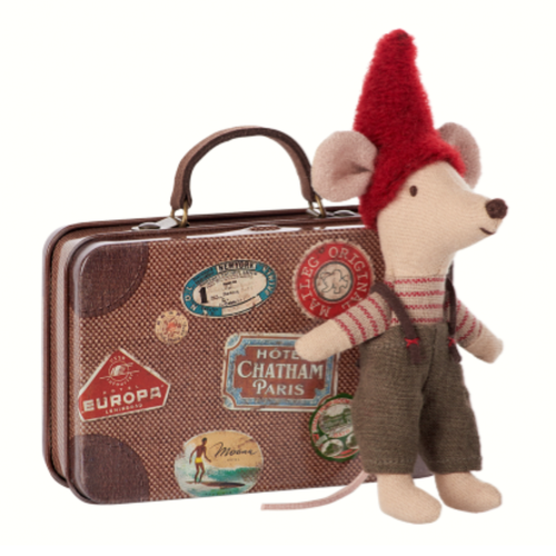 Christmas Mouse in Travel Suitcase