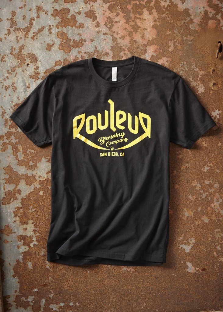 THE ORIGINAL ROULEUR BREWING T-SHIRT – MALE – BLACK WITH GOLD