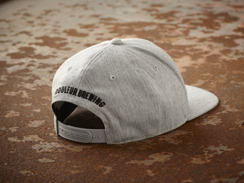 """ROULEUR BREWING """"R"""" WITH FIVE-POINTED CROWN – SNAPBACK HAT – HEATHER GREY WITH BLACK"""