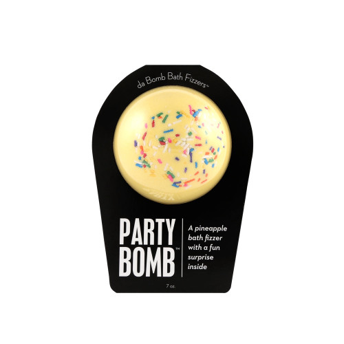 A pineapple bath fizzer with a surprise inside  Every bath is a celebration when fizz is involved. Now moonwalk over to your tub and drop THIS fresh bomb. Hold it in your hand as it dissolves, because there's a surprise inside! This could be a small toy, charm, figurine, key chain or other item that coordinates with the name of the bomb itself. Perfect for adults and kids alike. (Everybody loves surprises.)  Warning: Small parts. Not for children under 3.