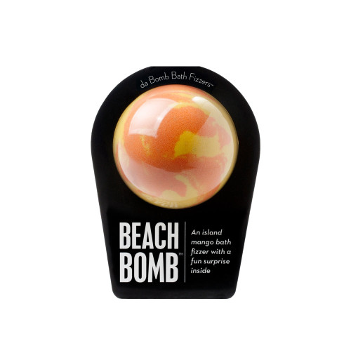 An island mango bath fizzer with a fun surprise inside!   Life's a beach when you drop this fragrant bath bomb into to your tub. Hold it in your hand as it dissolves because there's a fun surprise inside! This could be a small toy, charm, figurine, key chain or other item that coordinates with the name of the bomb itself.   Perfect for adults and kids alike. (Everyone loves surprises.)   Warning: Small parts. Not for children under 3.