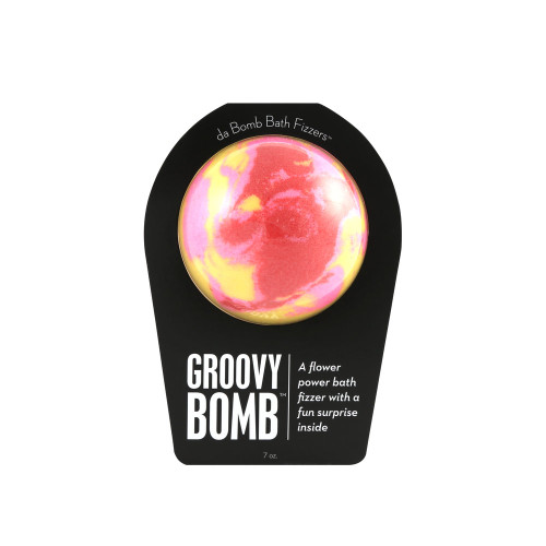 A flower power bath fizzer with a fun surprise inside.  Your tub will overflow with peace, love and fizz when you drop this floral bomb. Hold it in your hand as it dissolves because there's a surprise inside! This could be a small toy, charm, figurine, key chain or other item that coordinates with the name of the bomb itself. Perfect for adults and kids alike. (Everyone loves surprises.)   Warning: Small parts. Not for children under 3.