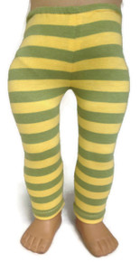 Yellow & Green Striped Knit Leggings