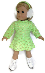 Sequin Skating Dress & Earmuffs-Fluorescent Green