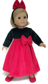 Dark Green & Red Velour Dress with Bow