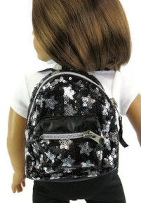 Backpack-Black & Silver Sequined