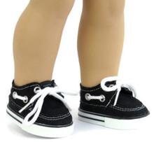 Canvas Boat Shoes-Black