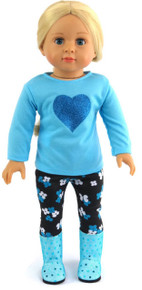 Blue Top with Heart & Black Flowered Leggings