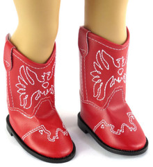 Cowboy Boots-Red with Embroidered Eagle Accent