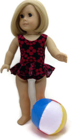 Ruffled Swimsuit & Beach Ball-Black with Red Flowers