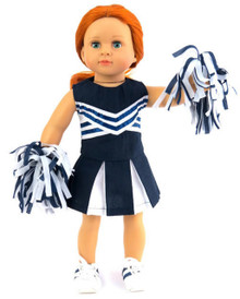 Cheerleader-Navy & White Top, Skirt, & Pom Poms