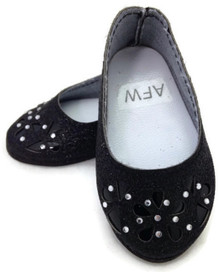 Glitter Flats with Floral Cutout & Rhinestones-Black