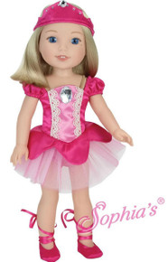 Pink Ballerina, Ballet Slippers, & Headpiece for Wellie Wishers Dolls