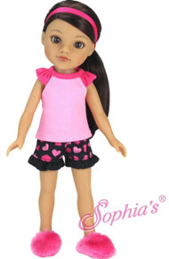Pink & Black Pajamas, Slippers and Hair Ribbon for Wellie Wishers Dolls