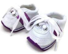 Mini Sketz-White with Purple Stripes