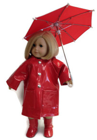Raincoat, Umbrella, & Boots-Red