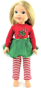 Candy Cane Tutu Dress & Striped Leggings for WellieWishers Dolls