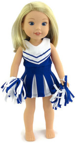 Blue & White Cheerleader Dress with Panties & Pom Poms for WellieWishers Dolls
