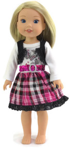 Butterfly Pink, Black, & White Dress for Wellie Wishers Dolls