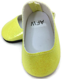 Glitter Slip On Dress Shoes-Yellow