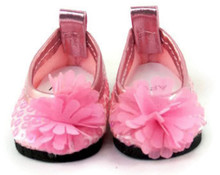 Sequined Dress Shoes with Flower-Pink for Wellie Wishers Dolls