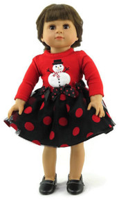 Red & Black Polka Dot Snowman Dress