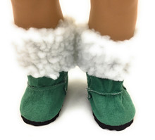 Suede Boots with Fur Trim-Green