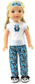 Panda Bear Pajamas & Eye Mask for Wellie Wishers Dolls
