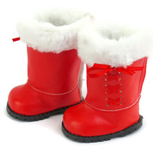 Red Boots with White Fur & Laced Ribbon Trim