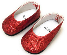 Glitter Flats Dress Shoes-Red for Wellie Wishers Dolls