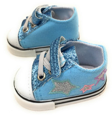 Glitter & Stars Tennis Shoes-Light Blue