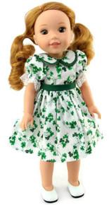 St Patrick's Day Shamrock Dress for Wellie Wishers Dolls