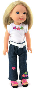 White Flowered Top, White Belt & Jeans for Wellie Wishers Dolls
