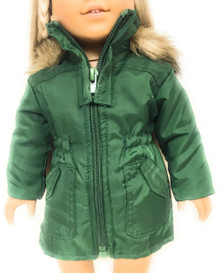 Green Nylon Hooded Jacket with Fur Trim