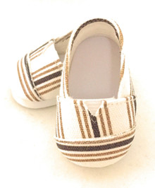 Canvas Slip Shoes-Brown Striped