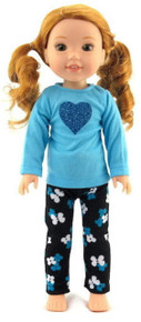 Blue Top with Heart & Black Flowered Leggings for Wellie Wisher Dolls