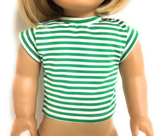 Striped Cap Sleeved Top-Green & White