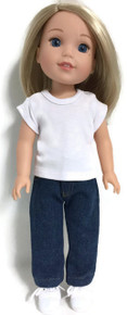 White Knit Top & Dark Denim Jeans for Wellie Wishers Dolls